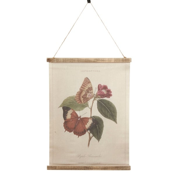 Canvas Wall Hanging With Butterfly & Flower Design