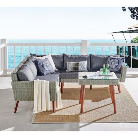 Bayden Grey Wicker Sectional Sofa and Tall Cocktail Table Set by Havenside Home