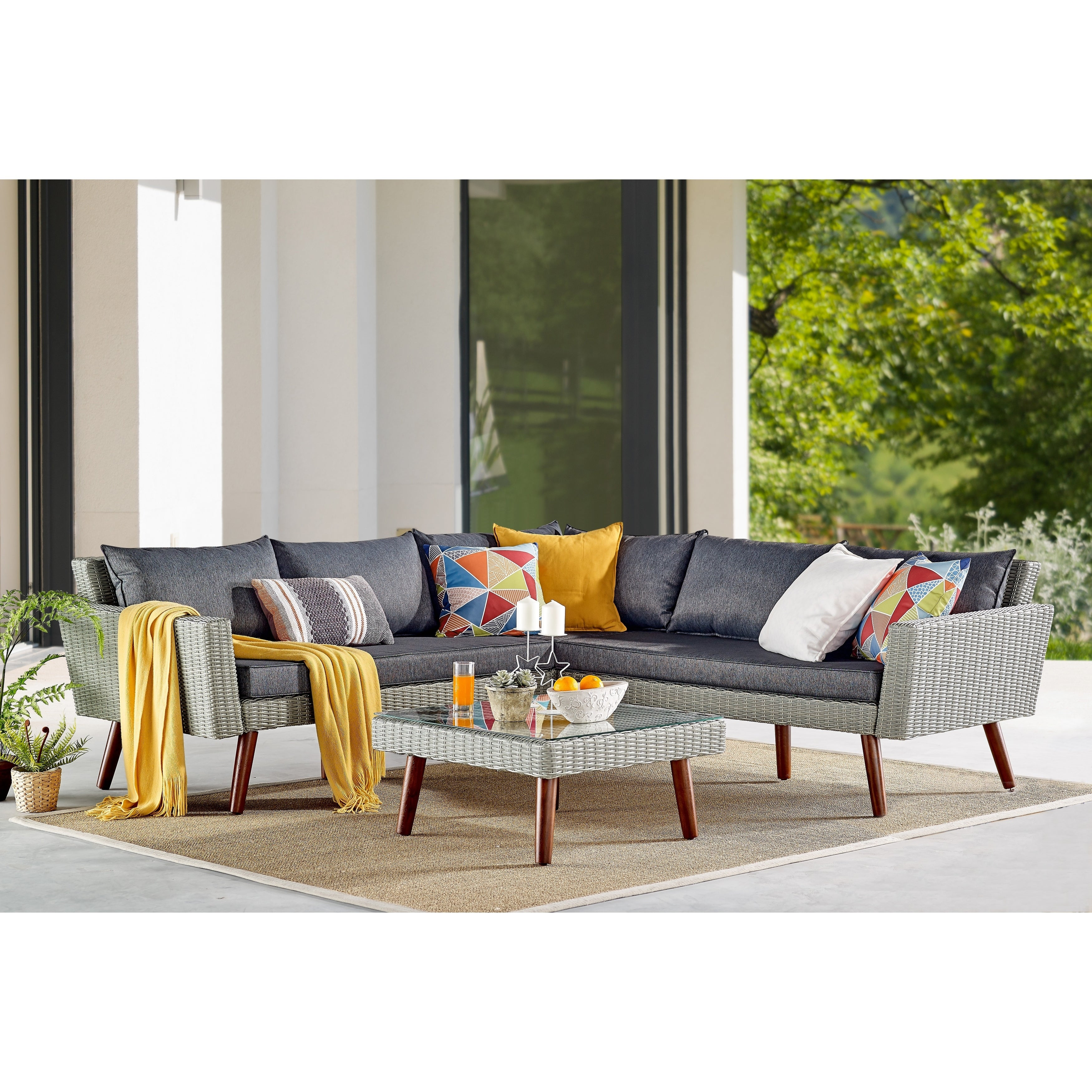 Shop Albany All Weather Wicker Outdoor Corner Sectional Sofa With