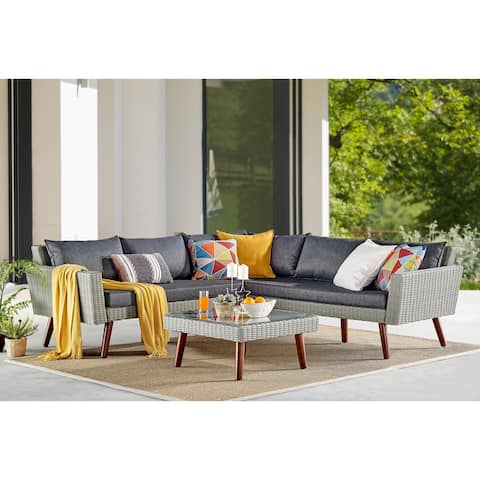 Bayden Grey Wicker Sectional Sofa and Coffee Table Set by Havenside Home