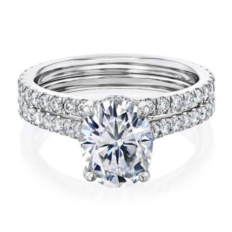 Annello by Kobelli 14k Gold 2.1ct Oval Forever One Moissanite and 4/5ct Diamond Drop Halo Comfort Fit Bridal Rings Set