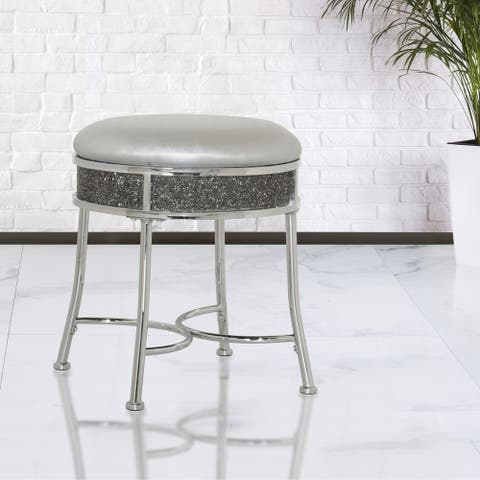 Silver Orchid Bettac Glam Backless Metal Vanity Stool