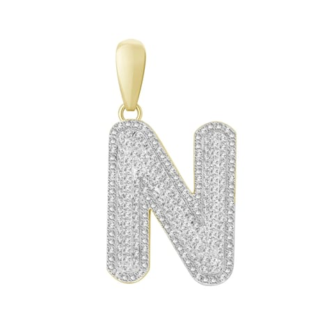 3/8 cttw Round Natural Diamond Letter 'N' Men's Initial Charm Pendant 10K Yellow Gold