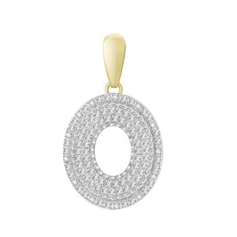 3/8 cttw Round Natural Diamond Letter 'O' Men's Initial Charm Pendant 10K Yellow Gold