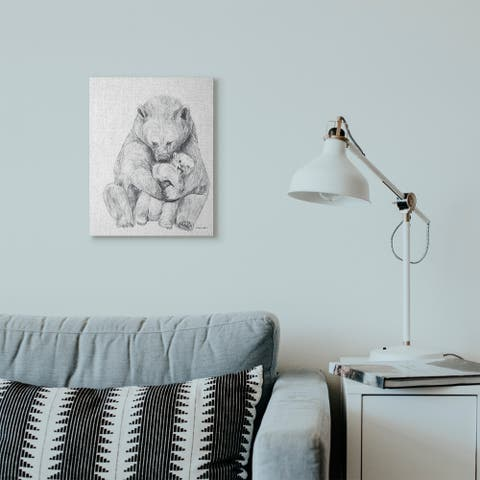 Stupell Industries Bear Family Animal Neutral Grey Drawing Canvas Wall Art, Proudly Made in USA