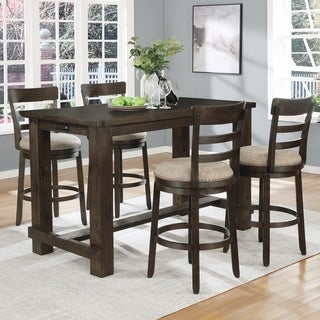Carbon Loft Bertish Brown Brushed Wood Counter Height 5-piece Dining Set