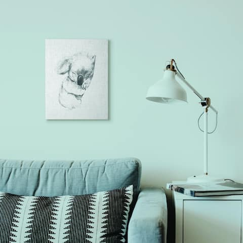 Stupell Industries Cute Koala Baby Animal Neutral Grey Drawing Design Canvas Wall Art, Proudly Made in USA