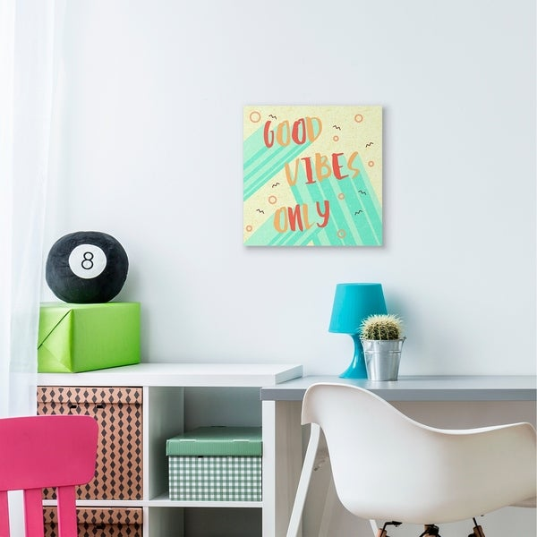 The Kids Room by Stupell Good Vibes Only Red Green Vibrant Word Design Canvas Wall Art, Proudly Made in USA