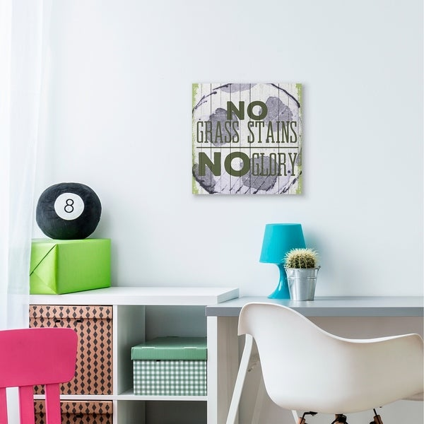 The Kids Room by Stupell No Grass Stains No Glory Soccer Sports Word Design Canvas Wall Art, Proudly Made in USA