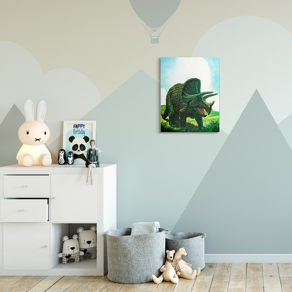 The Kids Room by Stupell Dinosaur Field Blue Green Kids Nursery Painting Canvas Wall Art, Proudly Made in USA