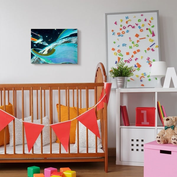 The Kids Room by Stupell Epic Space Landscape Planet Ship Blue Green Kids Canvas Wall Art, Proudly Made in USA