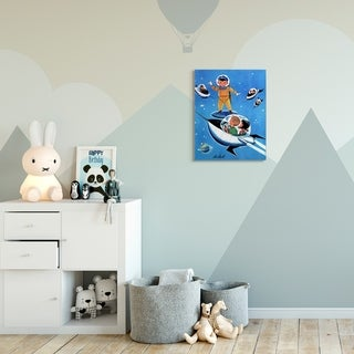 The Kids Room by Stupell Space Adventure Cartoon Blue Yellow Kids Nursery Painting Canvas Wall Art, Proudly Made in USA