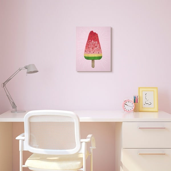 The Kids Room by Stupell Stay Cool Watermelon Ice Cream Pink Red Kids Nursery Canvas Wall Art, Proudly Made in USA