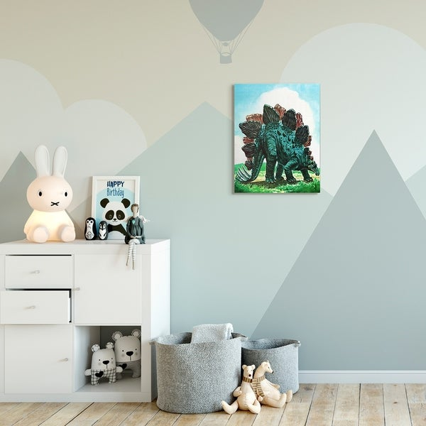 The Kids Room by Stupell Dinosaur Field Green Blue Kids Nursery Painting Canvas Wall Art, Proudly Made in USA