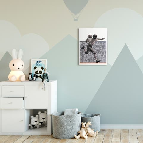 The Kids Room by Stupell Football Player Sports Word Design Canvas Wall Art, Proudly Made in USA