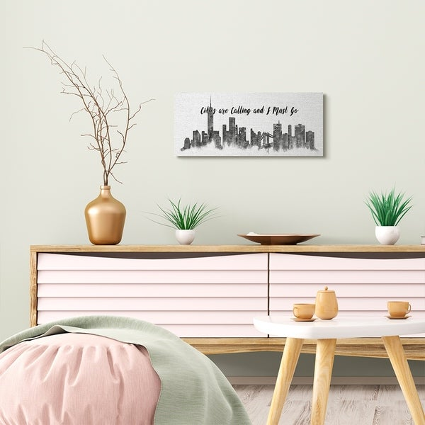 Stupell Industries Cities Are Calling White Landscape Drawing Canvas Wall Art, Proudly Made in USA