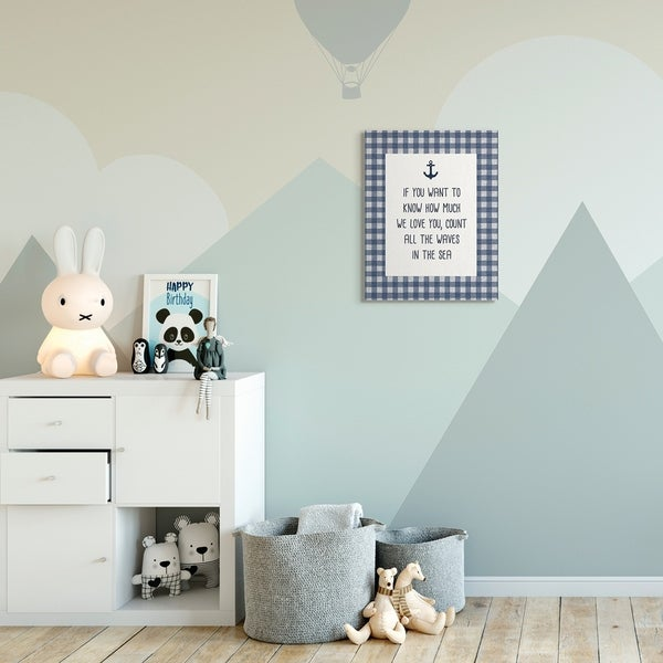 The Kids Room by Stupell Count The Waves Family Home Beach Blue Plaid Word Design Canvas Wall Art, Proudly Made in USA
