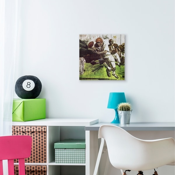 The Kids Room by Stupell Football Tackle Sports Wood Plank Texture Design Canvas Wall Art, Proudly Made in USA