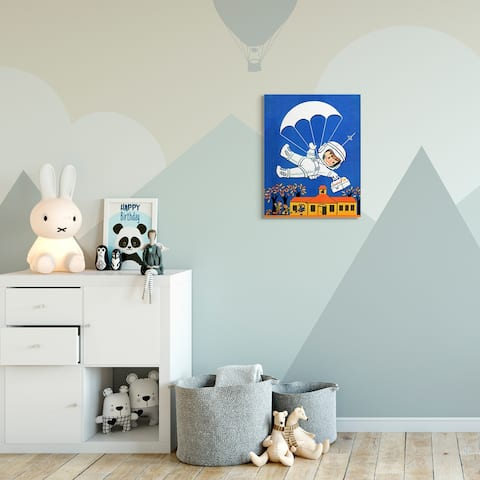 The Kids Room by Stupell Space Landing Cartoon Kids Nursery Painting Canvas Wall Art, Proudly Made in USA