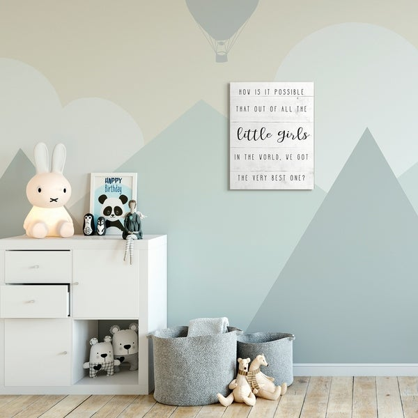 The Kids Room by Stupell Best Little Girl Family Kids Home Inspirational Canvas Wall Art, Proudly Made in USA