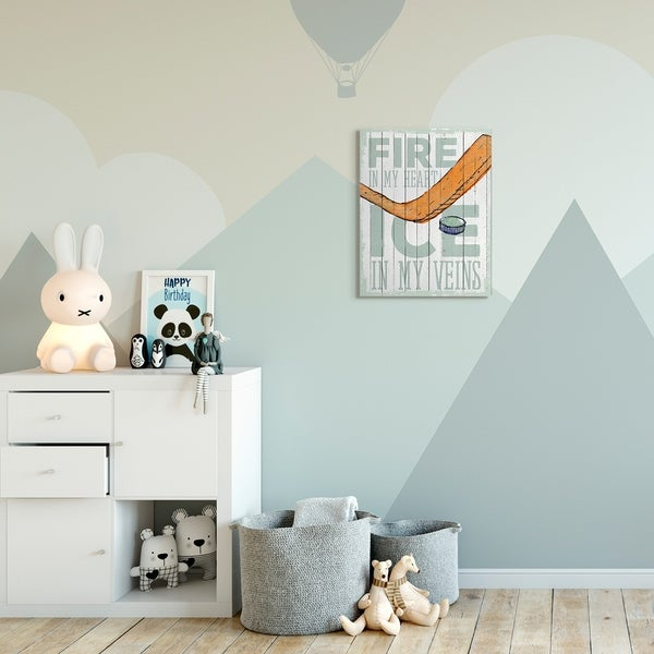 The Kids Room by Stupell Fire In My Heart Hockey Sports Word Design Canvas Wall Art, Proudly Made in USA