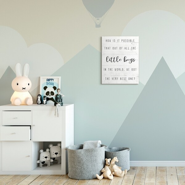 The Kids Room by Stupell Best Little Boy Family Kids Home Inspirational Word Design Canvas Wall Art, Proudly Made in USA