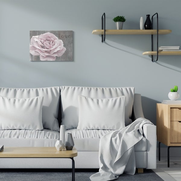 Stupell Industries Love Flower Pink Grey Texture Painting Canvas Wall Art, Proudly Made in USA