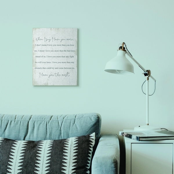 Stupell Industries Love You The Most Family Home Textured Word Design Canvas Wall Art, Proudly Made in USA