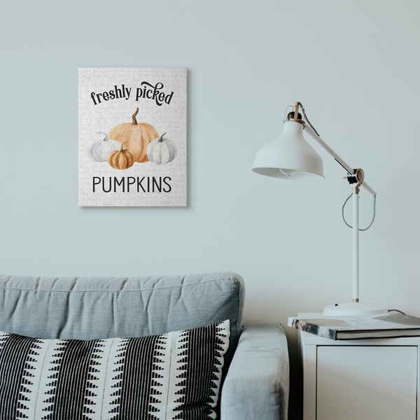 Stupell Industries Freshly Picked Pumpkins Autumn Fall Seasonal Design Canvas Wall Art, Proudly Made in USA