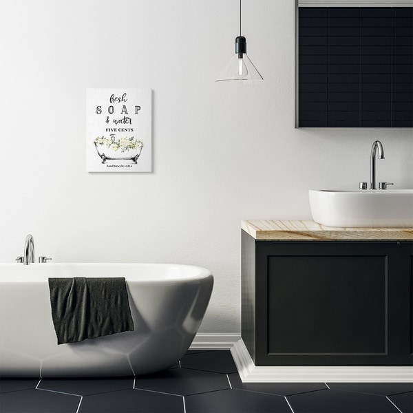 Stupell Industries Fresh Soap And Water Bath Tub Bathroom Design Canvas Wall Art, Proudly Made in USA