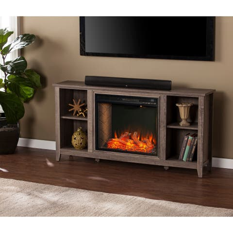 The Gray Barn Pamarr Transitional Mocha Gray Alexa Enabled Fireplace