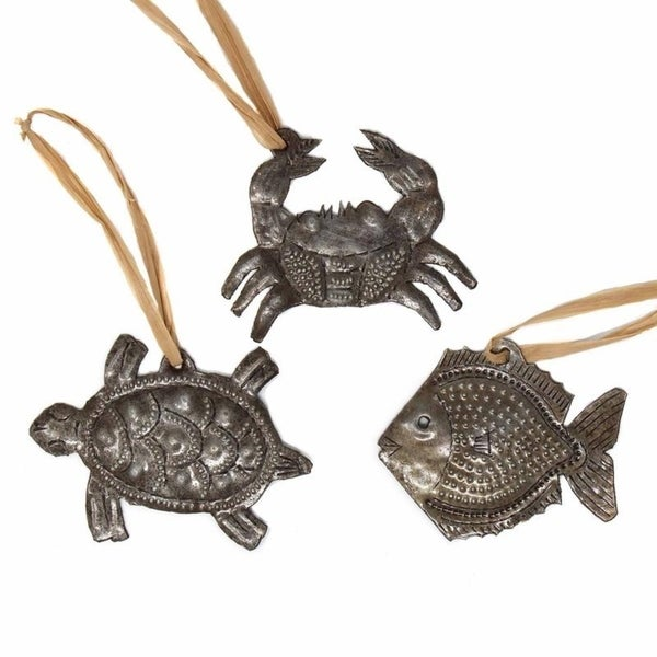 Handmade Haitian Metal Art Sea Life Ornaments (Set of 3). Opens flyout.