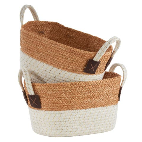 Nesting Baskets With Rope & Straw Design (Set of 2) - Set of 2