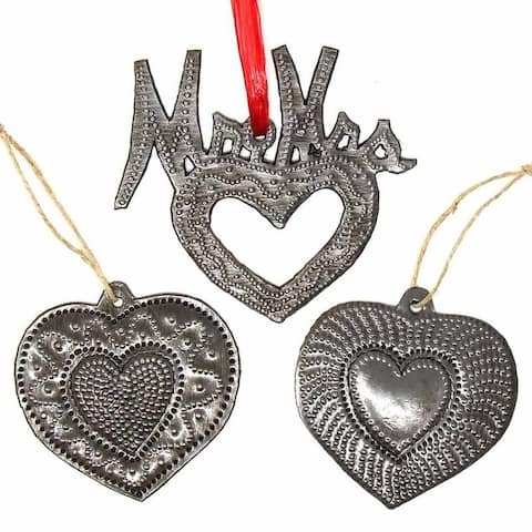 Handmade Recycled Haitian Metal Art Mr & Mrs Heart Ornaments (Set of 3)