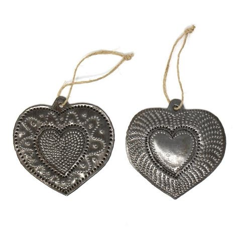 Recycled Haitian Metal Art Couples Hearts Ornaments (Set of 2)