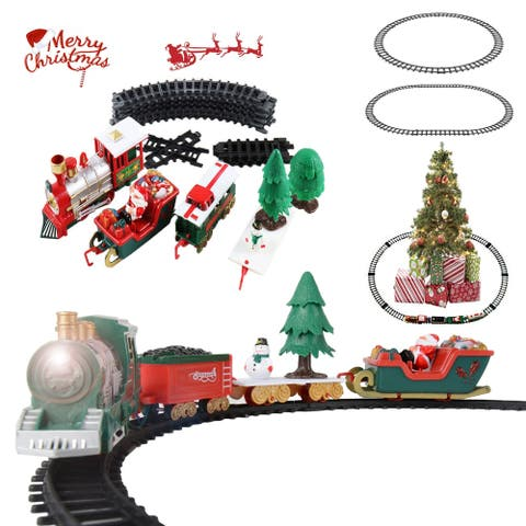 Toy Train Set for Kids with Sounds and Light Santa Claus Christmas