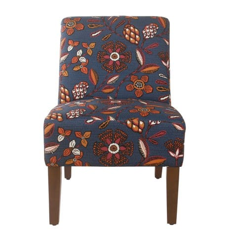 HomePop Armless Dining Accent Chair - Blue and Pink Floral