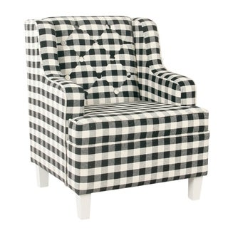 Link to HomePop Kid's Tufted Wingback Chair - Mini Black Plaid Similar Items in Kids' & Toddler Chairs