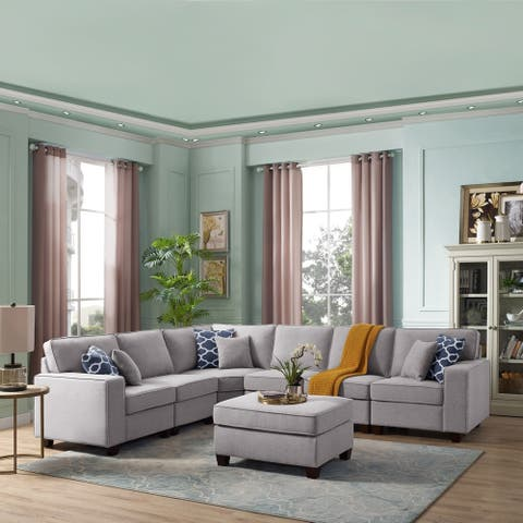 Legend sectional sofa with Ottoman Light Grey