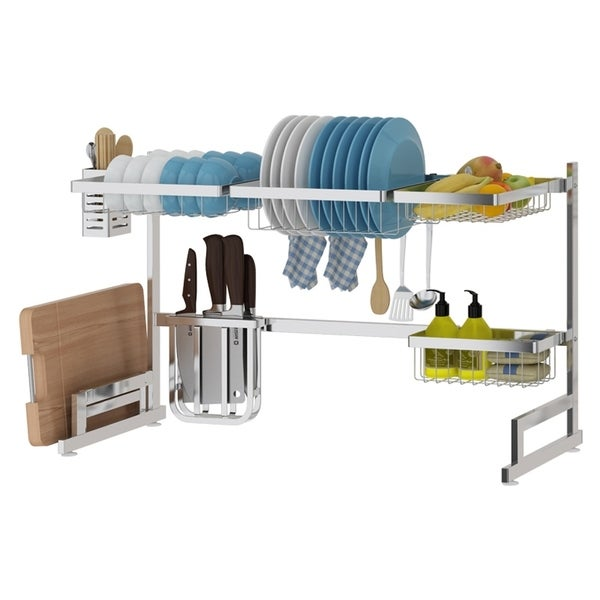 34in. Stainless Steel Dish Drying Rack Over Kitchen Sink, Dishes and Utensils Drying Shelf, Kitchen Storage Countertop Organizer