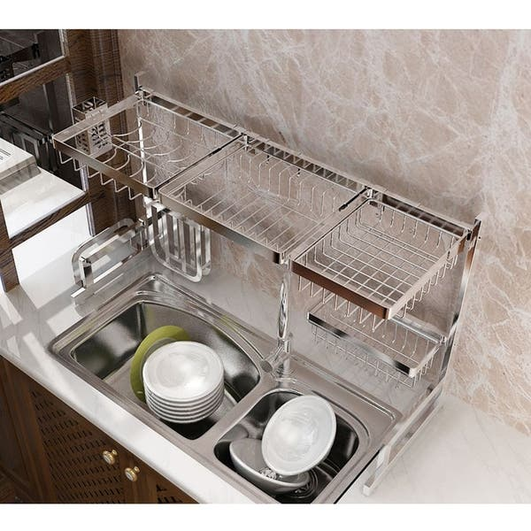 37in Stainless Steel Dish Drying Rack Over Kitchen Sink Dishes And Utensils Drying Shelf Kitchen Storage Countertop Organizer Overstock 29718684