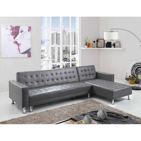 Greatime S2605 leatherette Convertible section Sofa