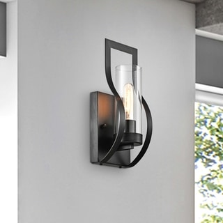 Link to Anastasia 1 Light Wall Sconce with Clear Glass Shade and Curved Frame Similar Items in Sconces