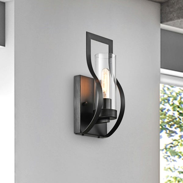 Anastasia 1 Light Wall Sconce with Clear Glass Shade and Curved Frame. Opens flyout.