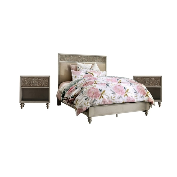 Furniture of America Daff Transitional 3-piece Bedroom Set w/ Storage