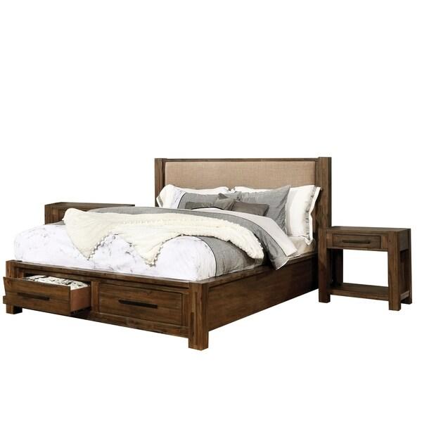 Furniture of America Pore Brown 3-piece Bedroom Set w/ 2 Nightstands