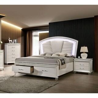 Furniture of America Xian White 3-piece Bedroom Set w/ Storage