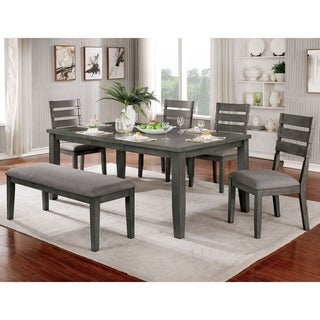 Furniture of America Jima Transitional Grey 72-inch 6-piece Dining Set