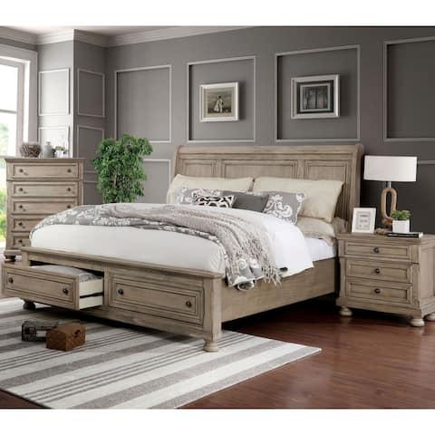 Furniture of America Nahkohe Grey 3-piece Bedroom Set with Storage