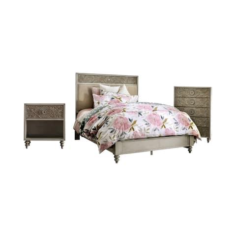 Furniture of America Daff Beige 3-piece Bedroom Set w/ Storage